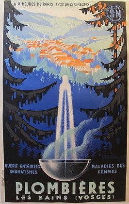 """Affiche SNCF """"Plombieres les Bains"""" par SENECHAL 1939"""