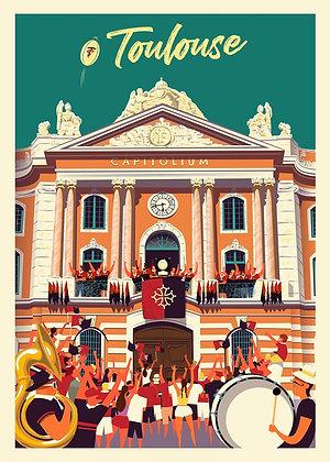 TOULOUSE Capitole Stade - Affiche CLAVE Illustration
