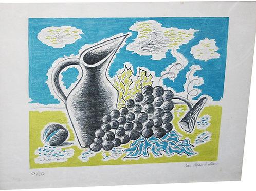 """Lithographie par Jean PICAR LE DOUX - """"La grappe et la carafe"""" - c.1960"""