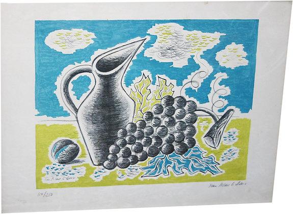 """Lithographie par Jean PICART LE DOUX - """"La grappe et la carafe"""" - c.1960"""