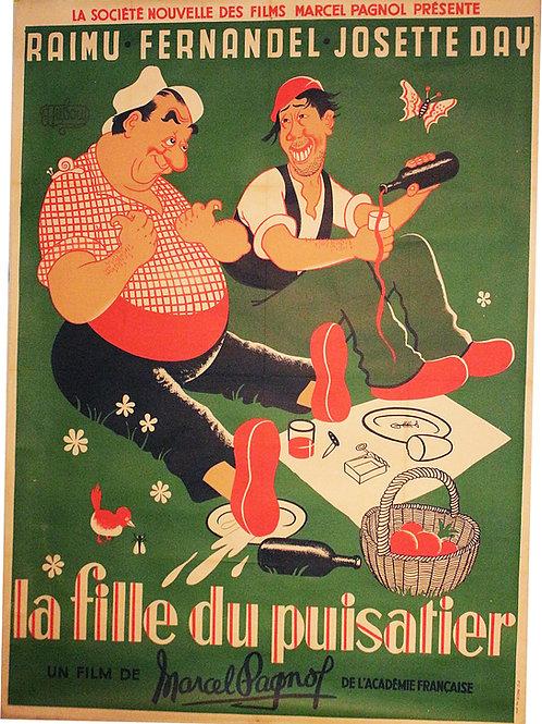 Affiche Cinéma par DUBOUT - La Fille du Puisatier - Fernadel Raimu- 1951