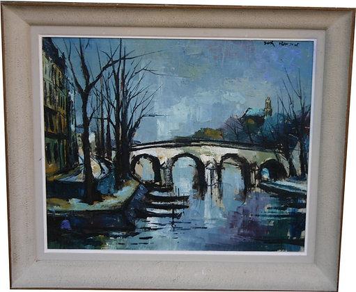 Huile sur Toile signée Didier GRANDT 1965 - Pont de Paris