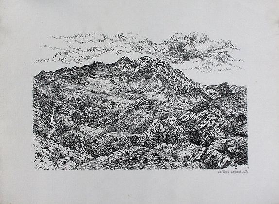 Lithographie Michel Leconte - Montagne Sainte Victoire / Aix en Provence