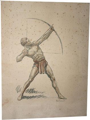 """Lithographie par Paul ORDNER - Série """"Les Archers"""" - vers 1930"""