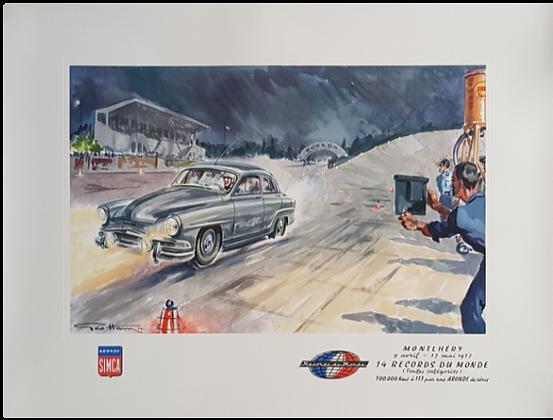 Lithographie de GEO HAM - Simca Aronde à Montlhery 1957