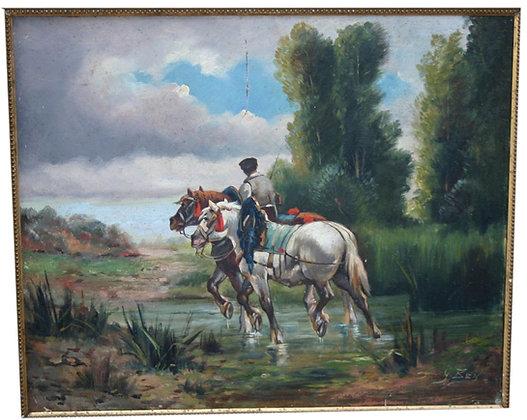 Huile sur Toile 19eme Soldat - Cavalier traversant un cour d'eau