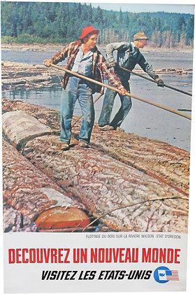 """Affiche """"Visitez les Etats-Unis"""" - Flottage du bois OREGON - c.1960"""