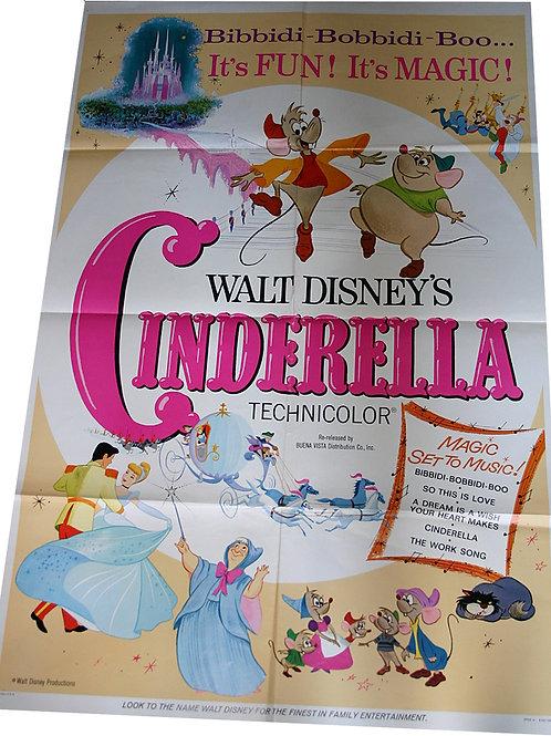 ORIGINAL USA poster CINDERELLA Walt DISNEY 1965