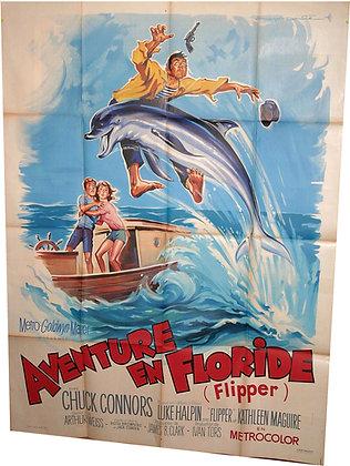 AFFICHE CINEMA 1963 AVENTURE en FLORIDE FLIPPER le DAUPHIN par ROGER SOUBIE
