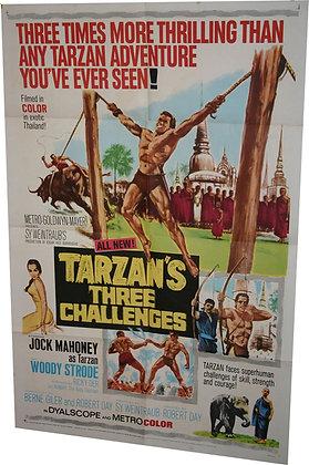 "Affiche USA ""Tarzan Three challenges"" (Le défi de Tarzan) - 1963"