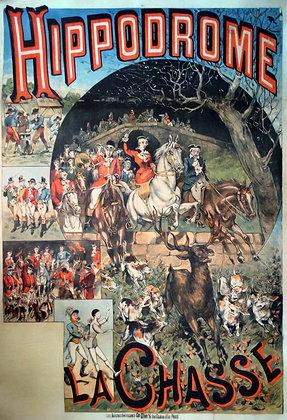 """Affiche Originale Ch. LEVY """"La Chasse"""" c.1880"""