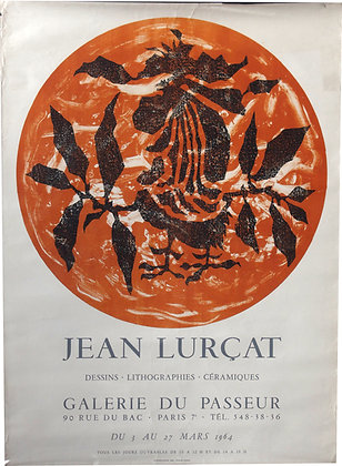 """Affiche Exposition Jean LURCAT """"Dessins - Litho - Céramiques"""" - 1964"""