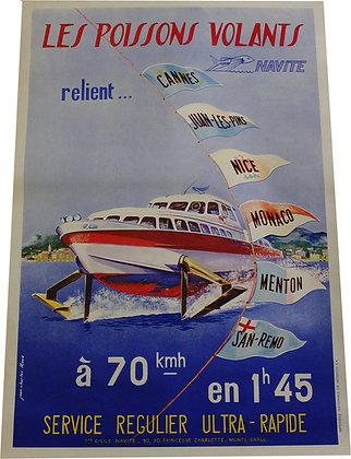 """Affiche Côte d'Azur """"Les Poissons Volants"""" Navettes - c.1960"""