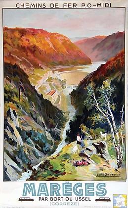 Affiche originale MAREGES par paul CHAMPSEIX 1936