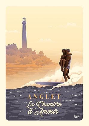 """Affiche CLAVE Illustration """" Anglet - la chambre d'amour """""""
