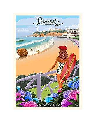 """Affiche CLAVE Illustration """"Biarritz - La grande plage"""""""""""