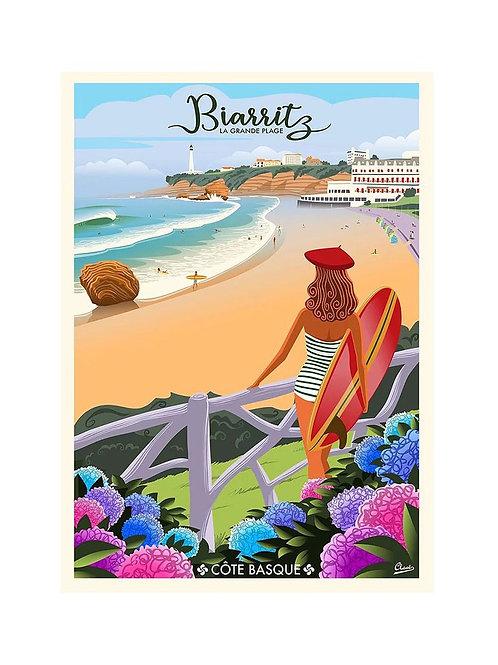 """Affiche Encadrée CLAVE Illustration """"Biarritz"""""""