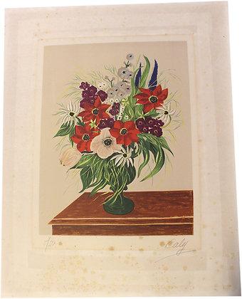 """Lithographie de Odette CALY """"Bouquet dans un vase"""" n°5/50"""