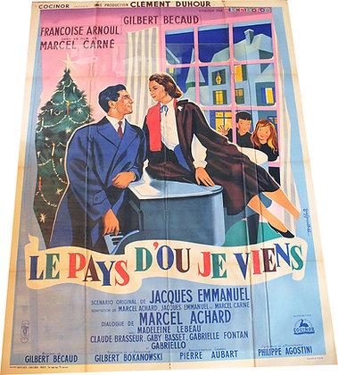 """Affiche Film """"Le pays d'où je viens"""" par Guy Gerard NOËL avec BECAUD 1956"""
