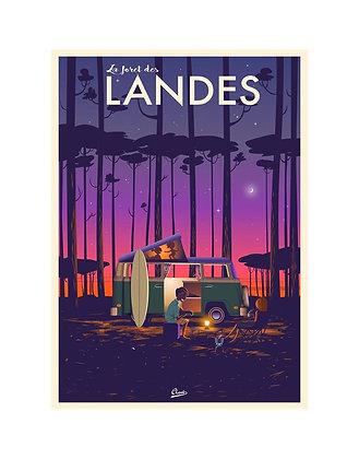 """Affiche CLAVE """"La forêt des Landes"""" Combi WW & Surf"""