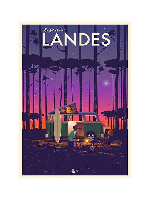 """Affiche Encadrée CLAVE """"La forêt des Landes"""""""