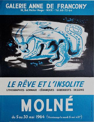 Affiche Expo MOLNE - LE REVE ET L'INSOLITE - 1964