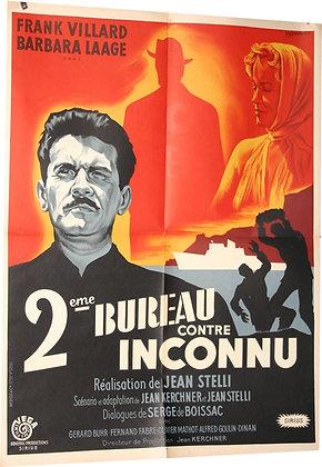 """Affiche """"2eme bureau contre inconnu"""" par Gerard Guy Noel - 1957"""