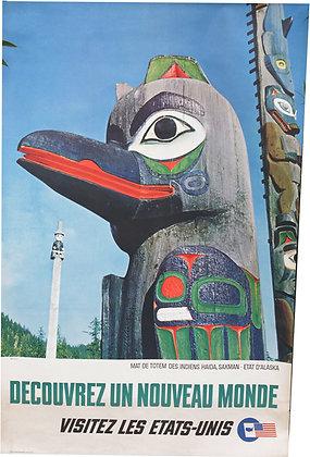 """Affiche """"Visitez les Etats-Unis"""" - Totem Indien Alaska - c.1960"""