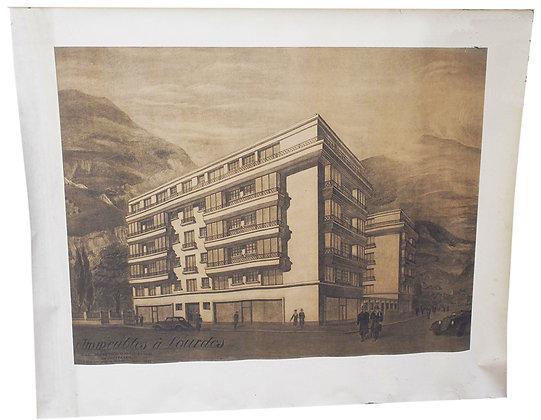"""Projet ARCHITECTURE ART DECO 1935 """"Immeubles à Lourdes"""""""