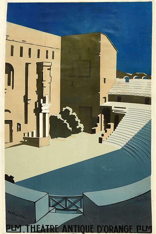 Affiche Theatre Antique d'Orange PLM par NAURAC c.1930