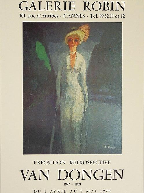 "Affiche VAN DONGEN ""Retrospective"" 1967  Galerie Robin Cannes - MOURLOT"