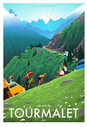 Affiche CLAVE Illustration : Le TOURMALET Tour de France
