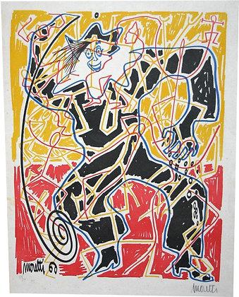 "Lithographie par Raymond MORETTI - ""Arlequin"" - 1960"