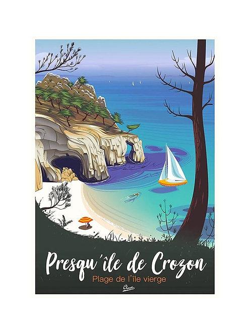 """Affiche encadrée CLAVE Illustration - """"Presqu'ile de Crozon"""""""