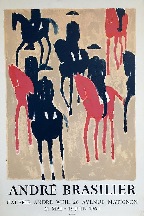 """Affiche André BRASILIER """"cavaliers"""" 1964 MOURLOT"""