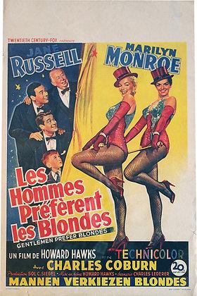 """Affiche Belge """"Les hommes préfèrent les blondes"""" Marylin MONROE 1954 RE"""