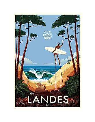 """Affiche CLAVE Illustration """"Les Landes"""""""