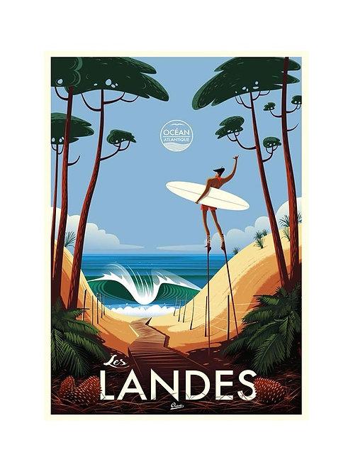 """Affiche encadrée CLAVE Illustration """"Les Landes"""""""