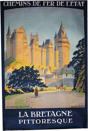 Affiche BRETAGNE PITTORESQUE Chateau de VITRE par CONSTANT-DUVAL c.1920