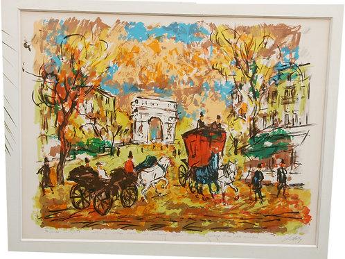 """Lithographie par Henry Maurice D'ANTY - """"Paris & arc de triomphe belle epoque"""""""