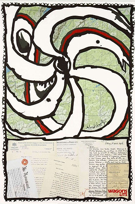 """Affiche de Pierre ALECHINSKY """"WagonLits"""" 1989"""