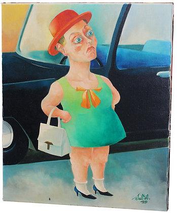 """Huile sur Toile signée Serge SALTEL """"La naine au chapeau rouge"""" 1989"""
