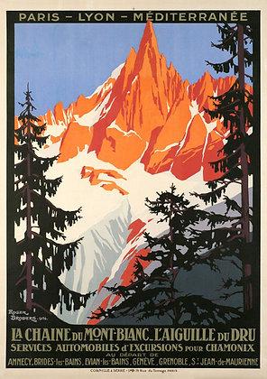 Affiche par BRODERS Chaîne du Mont-Blanc - Aiguille du Dru 1924