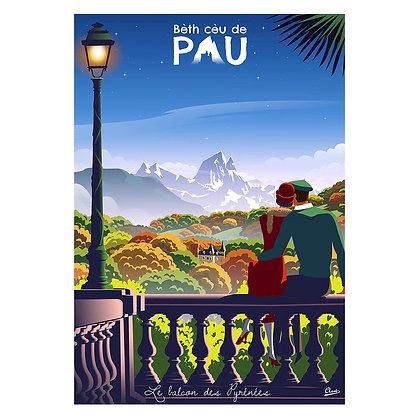 """Affiche CLAVE Illustration """"PAU - Le balcon des Pyrénées"""""""