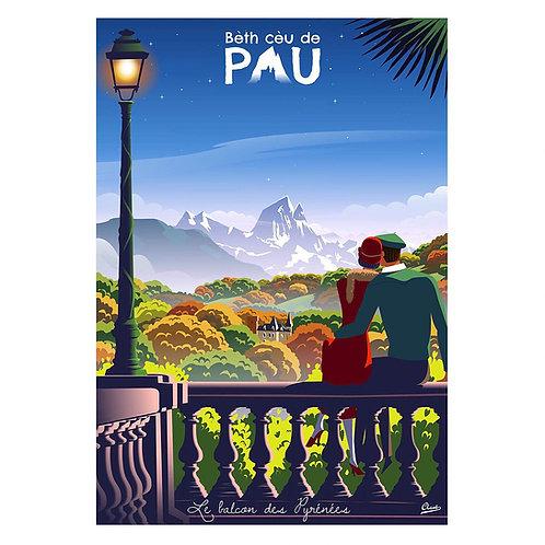 """Affiche encadrée CLAVE Illustration """"PAU - Le balcon des Pyrénées"""""""
