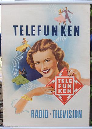 Affiche c.1950 TELEFUNKEN Radio Television Danseurs Musique