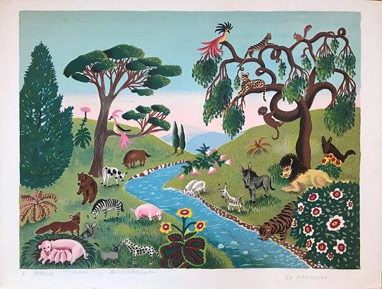 """Mady de la Giraudiere - Lithographie """"Le paradis des animaux"""""""
