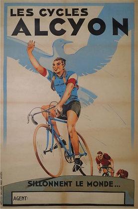 """Affiche Publicitaire """"Les CYCLES ALCYON"""" c.1940"""