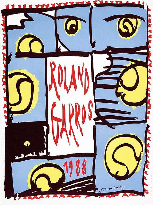 "Affiche de Pierre ALECHINSKY ""Roland Garros 1988"""