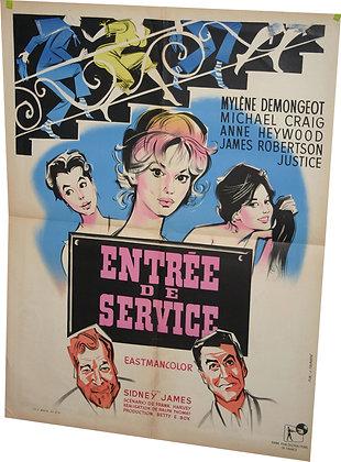 """Affiche """"ENTREE DE SERVICE"""" par Fourastier - 1960"""